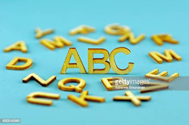 Wooden Letters With Focus On 'ABC'