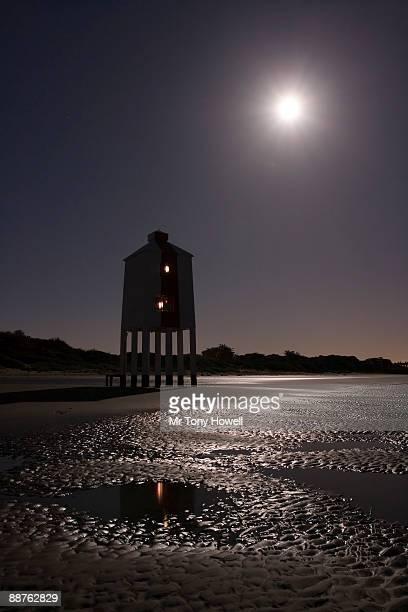 Wooden lighthouse (1832) still in use, Night, Burnham on Sea, Somerset, England