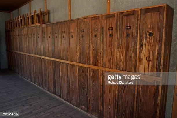 Wooden lockers in one of the two reconstructed barracks at at the site of the former Dachau Nazi concentration camp in Bavaria Germany 2014 The site...