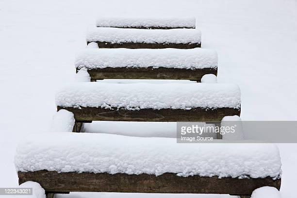 Wooden logs covered in snow