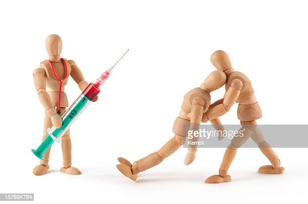 mannequin en bois est une coupure de courant sur le médecin