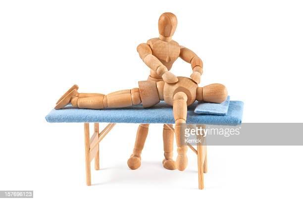 Hölzerne Kleiderpuppe für eine massage-Entspannen