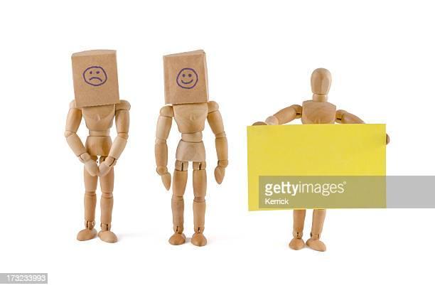 wooden mannequin team and hidden emotions