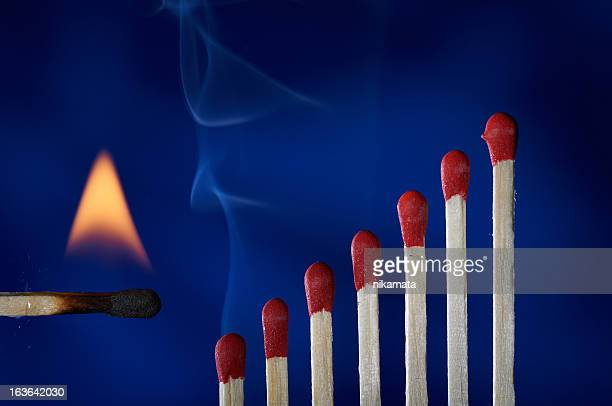 Wooden matches lined up like dominoes steps, in flames