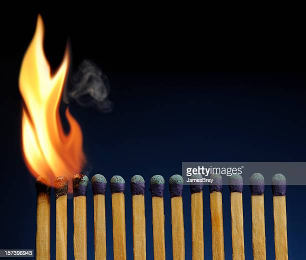 wooden matches lined-up like fire dominoes, about to burn down - fuse stock photos and pictures