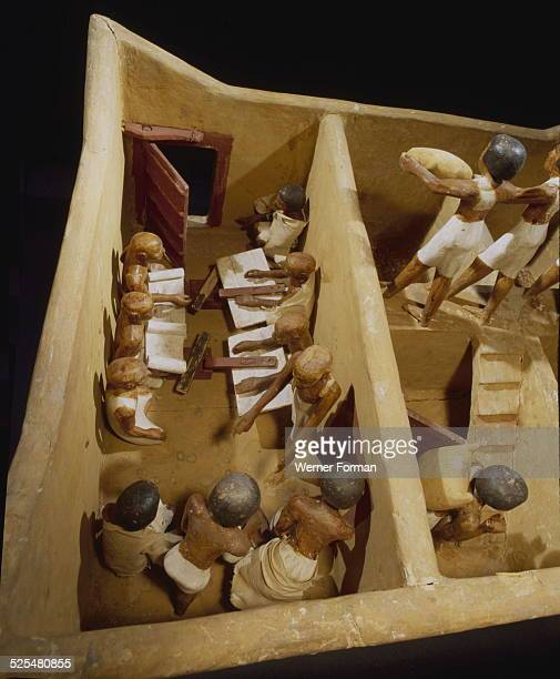 Wooden model depicting a granary The scribes recording the produce Egypt Ancient Egyptian 11th dynasty c21341991 BC Deir ElBahri tomb of Meketre