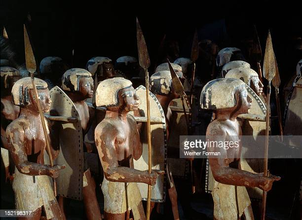 Wooden model of a troop of forty Egyptian soldiers carrying shields and lances Egypt Pharaonic Middle Kingdom 11th dynasty c 2134 1991 BC Asyuttomb...