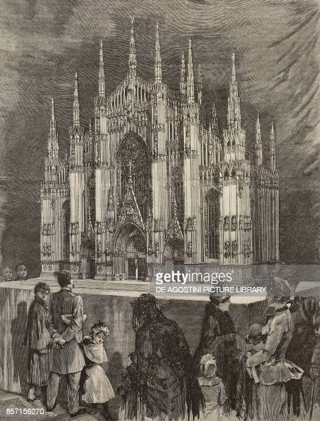 Wooden model of the facade of Milan cathedral sculptor G Brambilla drawing by C Linzaghi illustration from Il Secolo Illustrato della Domenica Year...