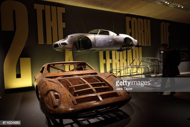 A wooden model of the Ferrari 365 P by Pininfarina 1966 on display at the 'Ferrari Under the Skin' exhibition at the Design Museum on November 14...