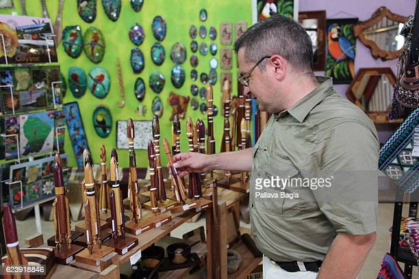 Wooden models of various rockets that are launched from Kourou on sale in a curio shop on October 5 2016 in Kourou French Guiana European countries...