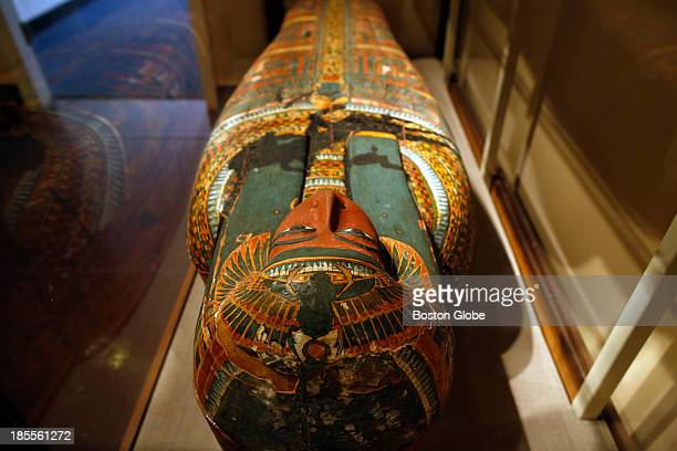 A wooden Mummiform coffin at Harvard's Semitic Museum in Cambridge Mass Oct 8 2013