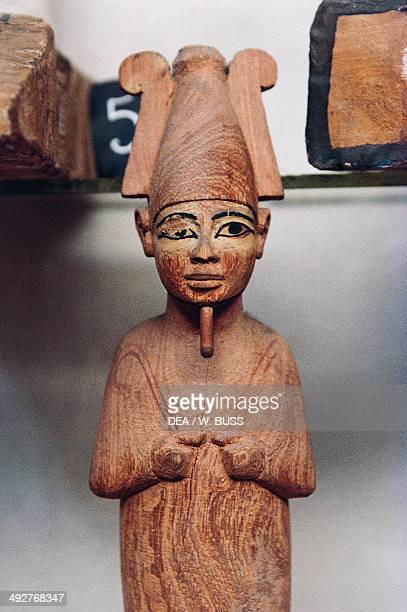 Wooden mummiform statuette of Osiris Egyptian civilization New Kingdom Cairo Egyptian Museum