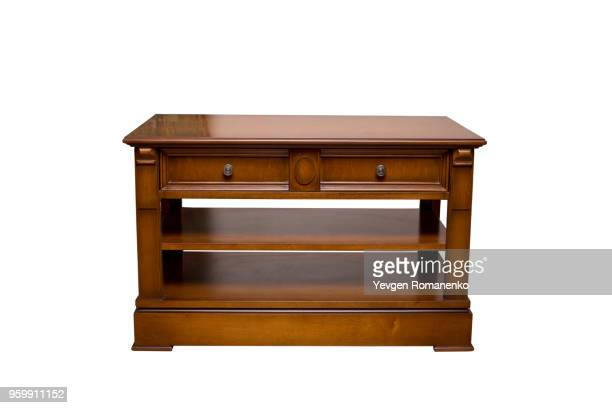 wooden nightstand - isolated on white - mesa muebles fotografías e imágenes de stock