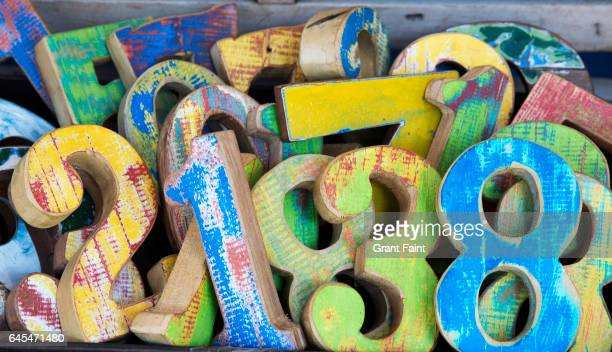 wooden numbers. - number stock pictures, royalty-free photos & images