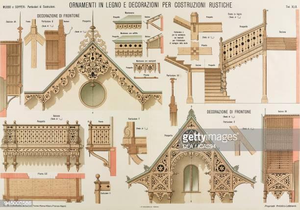 Wooden ornaments and decorations for rustic buildings chromolithograph from Particolari di costruzioni murali e finimenti di fabbricati Costruzioni...