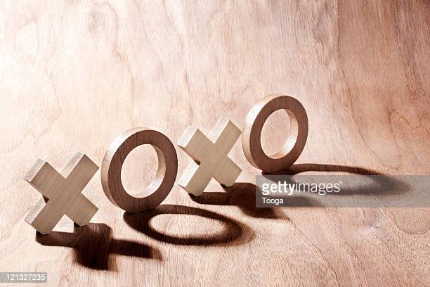 Wooden O's and X's (tic tac toe)