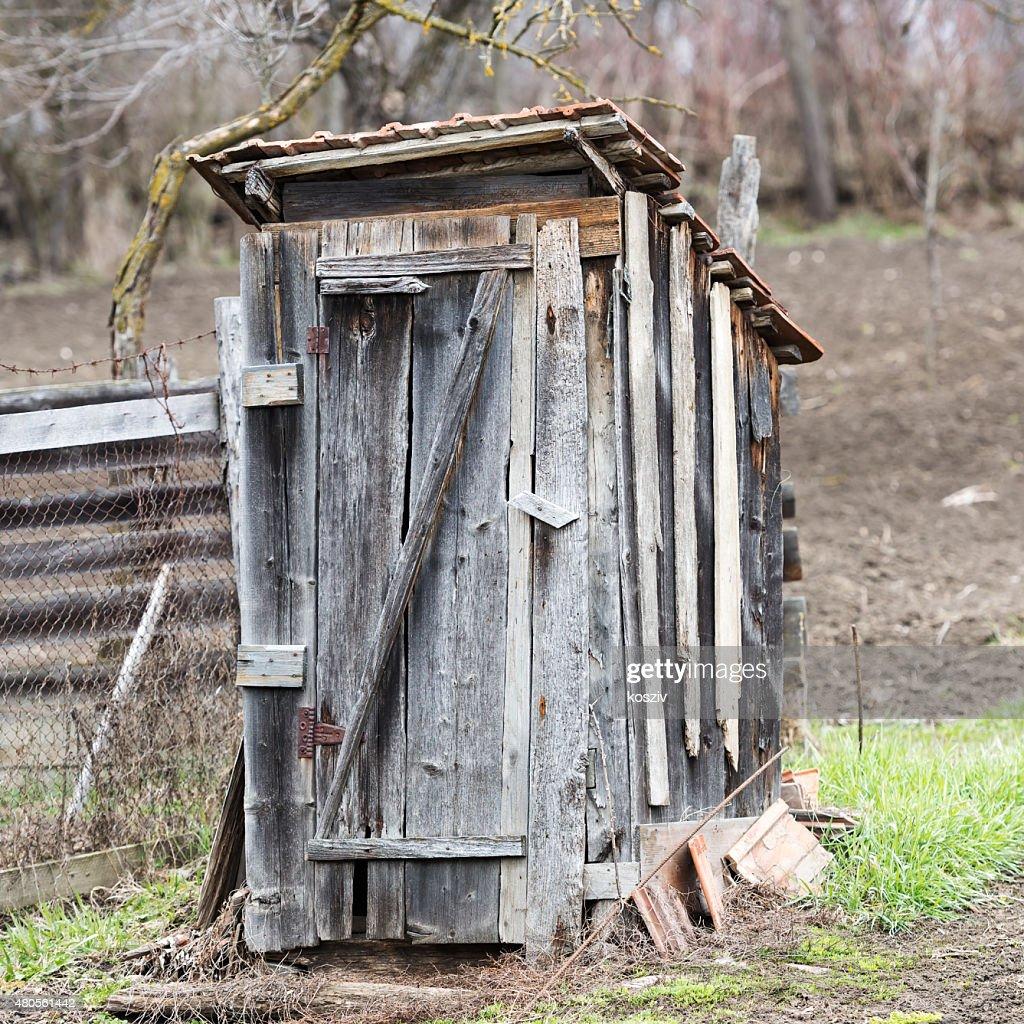 Wooden outdoors toilet : Stock Photo