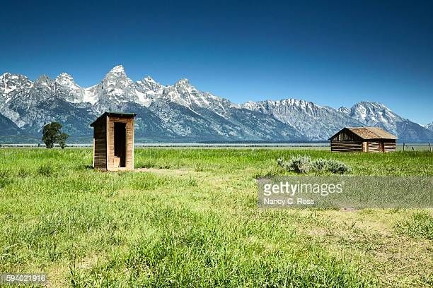 Wooden Outhouse and Barn, Mormon Row, Grand Tetons