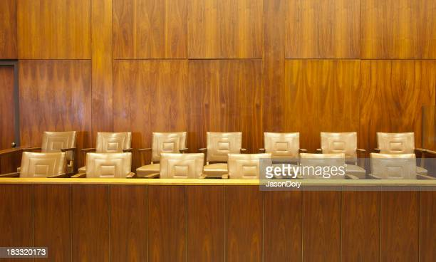 Wooden paneled courtroom jury box