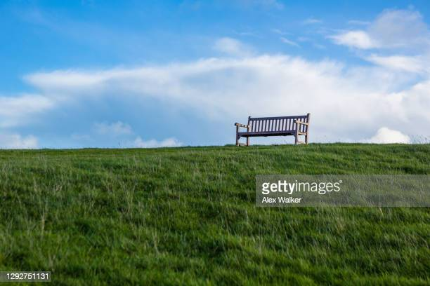 wooden park bench on top of grass hill against blue sky - park bench stock pictures, royalty-free photos & images
