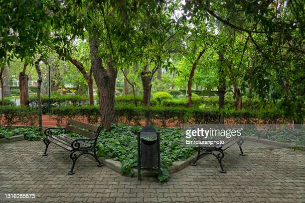 wooden park benches and waste basket in a public park. - emreturanphoto stock pictures, royalty-free photos & images