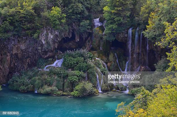 Wooden path and waterfall in Plitvice Park