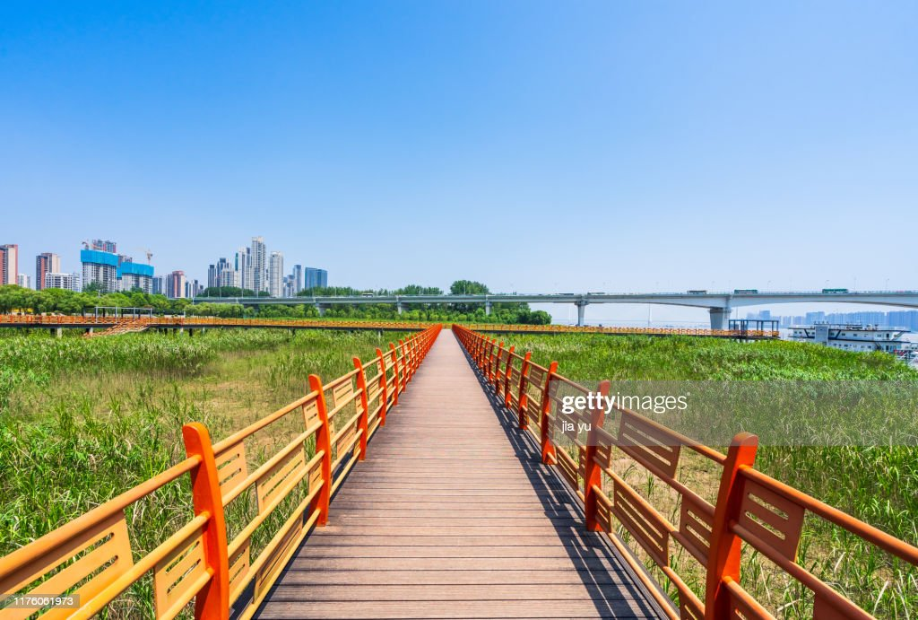 A wooden path towards modern city,Wuhan : Stock Photo