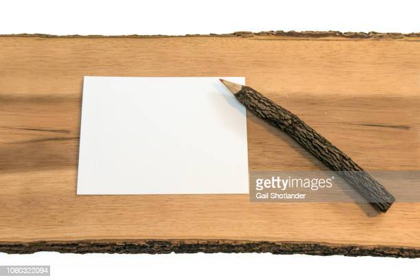 Wooden Pencil and Paper