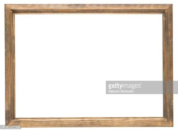 wooden picture frame background - bilderrahmen stock-fotos und bilder