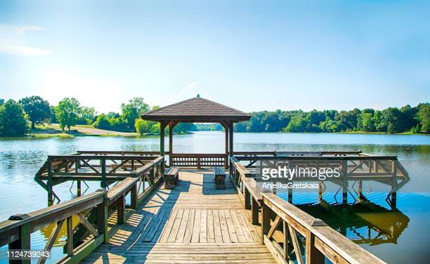 wooden pier and pagoda, shreveport, louisiana, united states - louisiana stock pictures, royalty-free photos & images