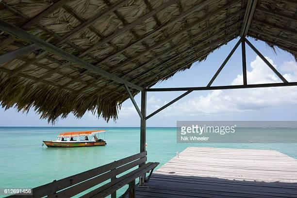 wooden pier at beach of pigeon point on tropical island of tobago in trinidad and tobago in the caribbean - paisajes de trinidad tobago fotografías e imágenes de stock