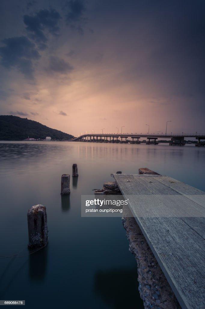Wooden pier at dusk : Stock Photo