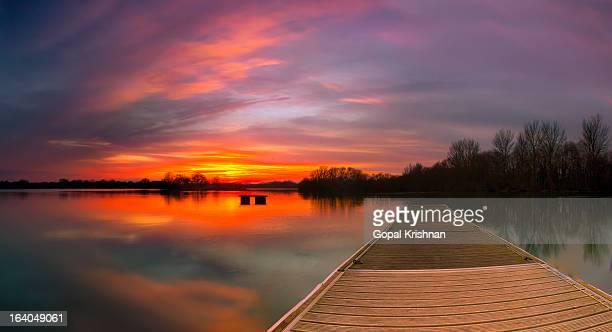 Wooden Pier At Sunset - Black Swan Lake