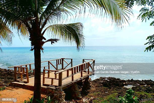 Wooden Pier By Sea At San Andres