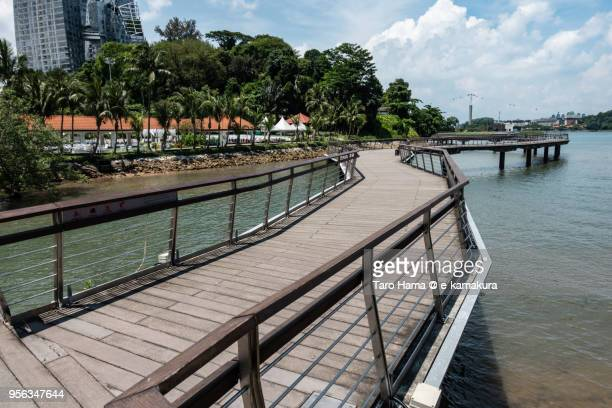 Wooden pier in Keppel Harbor in Singapore