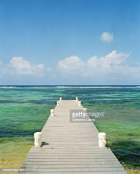 Wooden pier in ocean