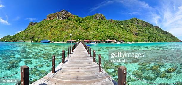 Wooden pier leading to Bohey dulang island, Borneo, Malaysia