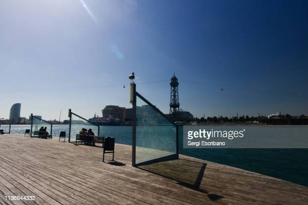 Wooden pier of the commercial port of Barcelona