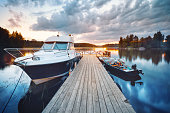 Wooden pier with boat