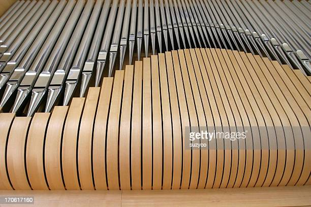 wooden pipe organ close up - metal music stock photos and pictures