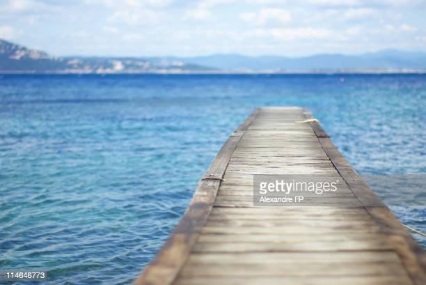wooden pontoon at mediterranean sea - pontoon bridge stock pictures, royalty-free photos & images