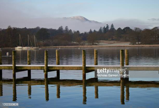 wooden posts in lake against sky - english lake district stock pictures, royalty-free photos & images