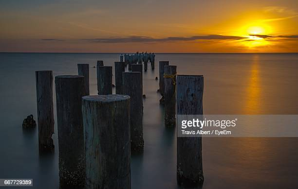wooden posts in sea against orange sky during sunset - coral springs stock pictures, royalty-free photos & images