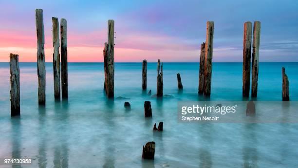wooden posts on sea at sunset, port willunga, adelaide, australia - ウィランガ ストックフォトと画像