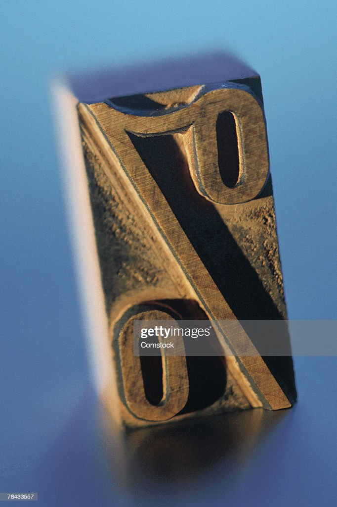 Wooden printer's block of percent sign : Stockfoto