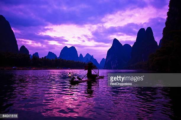 Wooden raft in a river, Li River, XingPing, Yangshuo, Guangxi Province, China