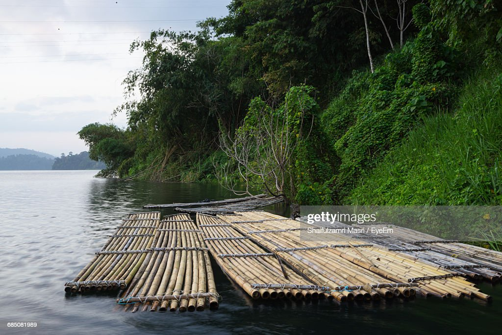 Wooden Rafts Moored On Lake By Trees Against Cloudy Sky : Stock Photo