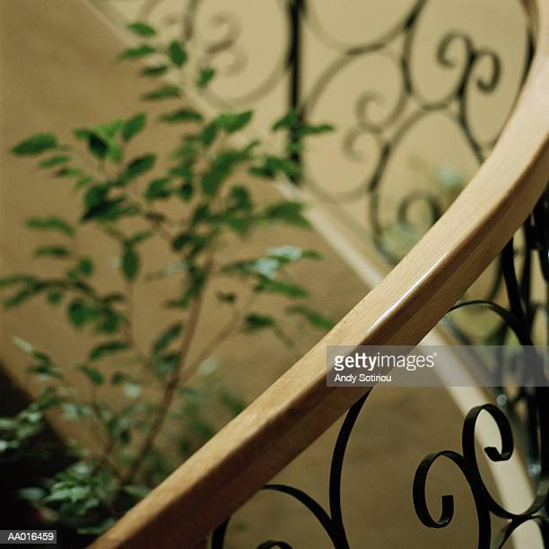 Wooden Railing on Stairs