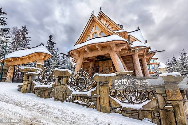 Wooden Residential House in winter, Poland