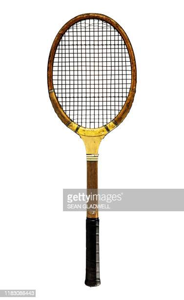wooden retro tennis racket - racquet stock pictures, royalty-free photos & images